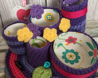 Purple: Crochet Pencil Pot Holder, Pencilpot, Crochet Desk Tidy, Woollen