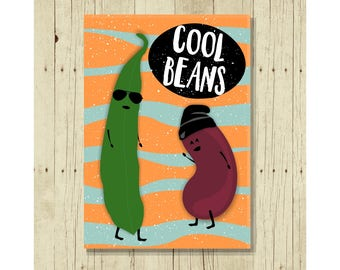 Cool Beans Magnet, Funny, Cute and a Throwback to 80's Sayings, Veggie Lovers, Vegetarians, Small Gifts Under 10, Legumes