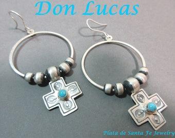 DON LUCAS~Sleeping Beauty Turquoise Cross Charm~Navajo Pearl~Hoop 925 Earrings