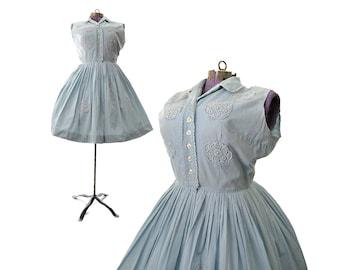 1950s Dress, vintage dress, 50s Dress, large dress, cotton dress, light blue dress, womens dress, vintage clothing, rockabilly dress costume
