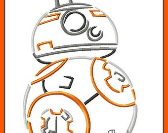 BB8 from Star Wars The Force Awakens Sketch Digital Embroidery Machine Design File 4x4 5x7 6x10