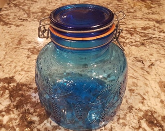 Blue Glass Decorative Storage Jar
