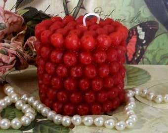 Beeswax Red Cranberry Pillar Candle Small  2 3/4""