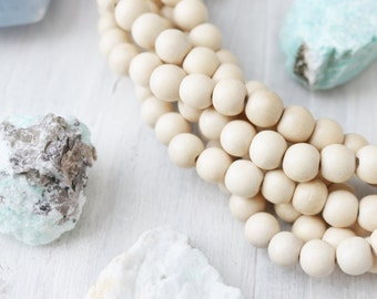 Natural Wood Beads, Natural White Beads, Wood Beads, Natural White Wood, Handmade Wood Beads, 8mm White Beads, 8mm White Wood,