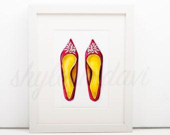 "Fashion Illustration Print ""Glamorous Pink"""