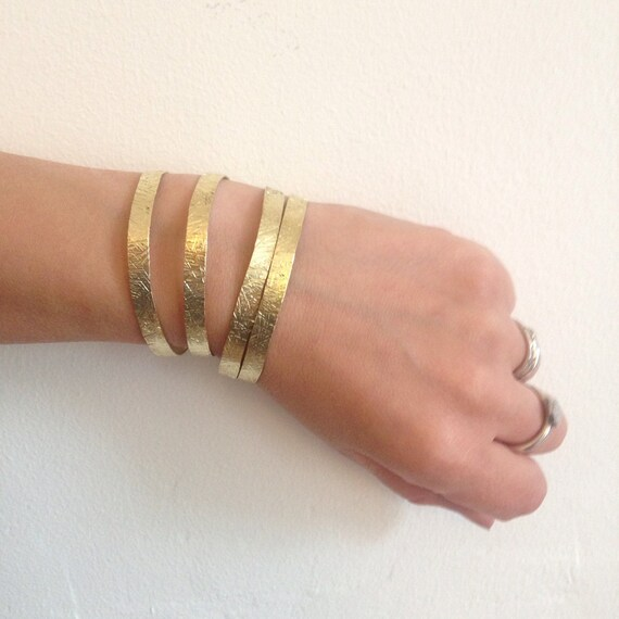 Hammered Brass Adjustable Slim Cuff - Delicate - Gold - Festival - Gypsy - Stacker - Bangle - Crosshatch - Bracelet - Gift - Stacking