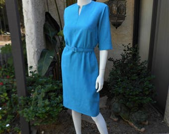 Vintage 1950's Ann Murray Teal Blue Day Dress - Size 8