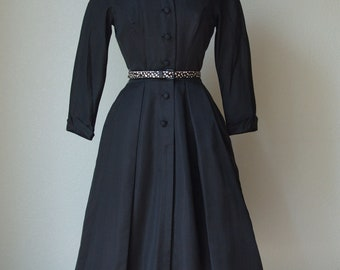 1950s Silk Faille Dress / Finely Tailored New Look Dress / 1950s Dinner Dress / Beautifully Made / Small