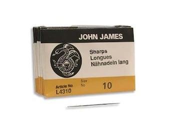 John James Sharps Needles Size 10 43370 , Size 10 English Needles, Sharps Bulk Pack Beading Needle, Sewing Needles, John James Needle L4310