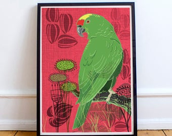 Green Parrot Print