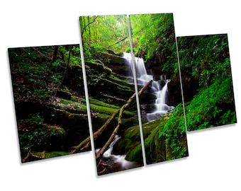 Landscape Forest River Waterfall CANVAS WALL ART Multi Panel Picture Print