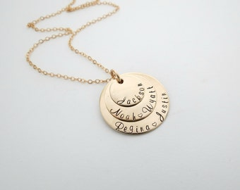 Personalized Gold Family Necklace - Kids Name - Grandkids - Engrave - Personalized Jewelry - Custom Name Necklace - Mothers - Grandma