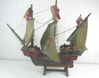 Vintage tall ship model, pirate ship, sail boat, vintage ship, nautical decor, made in Germany