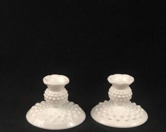 Vintage Milk Glass Hobnail Candle Holders
