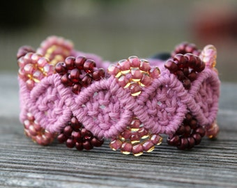 REDUCED. Micro-Macrame Bracelet. Hemp Bracelet. Hemp Jewelry. Pink Bracelet. Knotted Jewelry. Macrame Jewelry Cuff Bracelet Beaded Hemp.