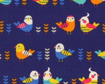Kokka Japanese Textiles - Loose Animals Collection - Birds in Navy
