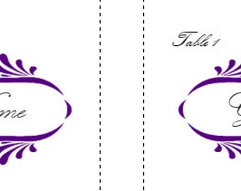 Printable Place Card Purple Damask with Table Number