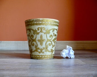 Florentine Gold White Wood Trash Can, Round Florentine Tole Wood Waste Paper Basket, Handcrafted in Firenze Italy, Vintage Office Home Decor