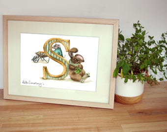 Mounted personalised letter S - custom Illustrated alphabet - Children's illustration - Original hand drawn alphabet print - Baby gift