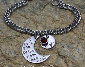Personalized Moon and Back bracelet I love you to the moon and back bracelet mothers bracelet grandmothers bracelet