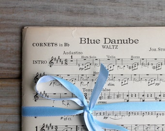 Vintage sheet music / Blue Danube waltz / Johann Baptist Strauss / paper ephemera / Walter Jacobs Inc Boston / patina / rustic paper / music
