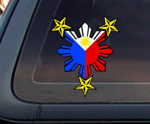 Philippine flag sun with nautical star321 2 7 75x5car