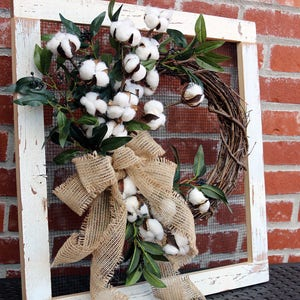 Farmhouse decor, cotton wreath, rustic country, Reclaimed wood frame, Vintage Farmhouse cotton wreath, Rustic Recycled decor, Rustic frame