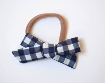 Knot Bow- Navy Check