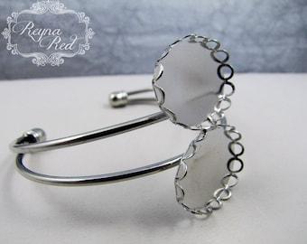Silvertone Brass Cuff Bracelet Blank w/ Double Cabochon Setting, bangle, cuff blank, jewelry making, beading supplies - reynaredsupplies