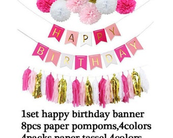 Happy Birthday Banner with tassels and pompoms set Pink and gold