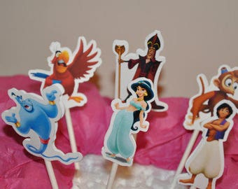 Jasmine and Aladdin Cupcake Toppers Set of 12