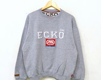 Rare!! ECKO Function Embroidery Sweatshirt Pullover Jumper Hiphop Rap Swag Biglogo Grey Colour large Size mLkN01U
