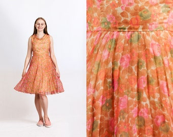 vintage 1960s 1950s sheer chiffon floral dress cowl neckline knee-length pleated skirt sleeveless fit and flare dress size M Medium