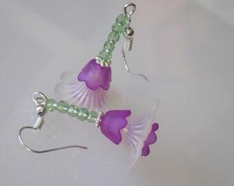 Easter Earrings, Lucite Flower Earrings, Spring Flowers, Gift for Her, Flower Dangles, Holiday Jewelry