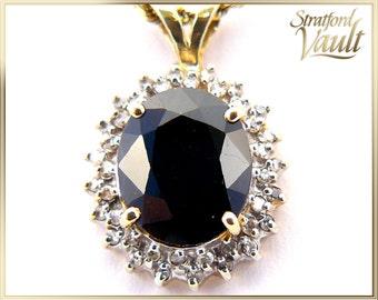 Sapphire Lady Di Pendant ~ 14K Yellow & White Gold ~ 5.30ct Oval Blue Sapphire ~ 0.40ctw Brilliant Cut Diamonds ~ STR17160 ~ GIA ~ 5500.00