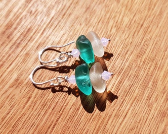 Genuine Sea Glass Earrings, Irish Sea Glass Earrings, Beach Glass Earrings, Stacked Sea Glass Earrings, Teal and White Sea Glass Earrings