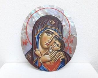 The Theotokos icon on nacre. Orthodox icon Virgin Mary