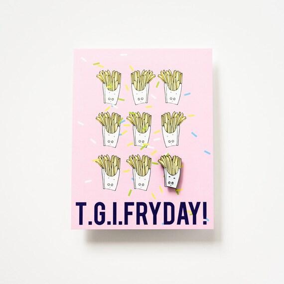French Fry Enamel / Lapel Pin + TGIF Postcard Office Holiday Stocking Stuffer