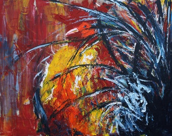 The Tango Large  Rooster Acrylic Painting