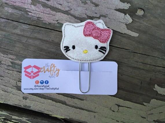 Glitter Kitty Planner Clip/Paper Clip/Feltie Clip.  Planner Clip. Kitty planner clip. Cat planner clip