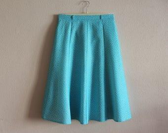 Vintage Skirt Women's Skirt Blue Skirt High Waisted  Turquoise A Line Skirt Bell Skirt Hippie Grunge Bohemian Summer Skirt Lined Medium Size