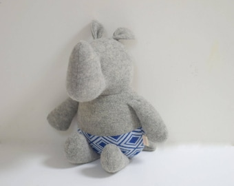 Handmade Rhino stuffed small animal OOAK grey Rhino rag doll eco toy upcycled soft wool cotton sweater soft plush Rhino bubynoa small rhinos
