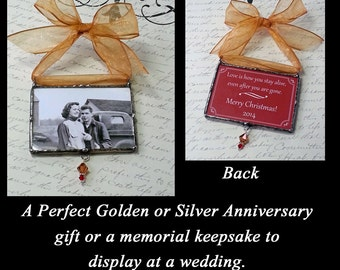 Photo Ornament, Soldered Glass, Golden Anniversary or Silver Anniversary Gift, Photo Memorial Wedding Keepsake