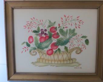 1982 Pink Fruit Basket Theorem Barbara Novak Strawberries and Cherries Framed