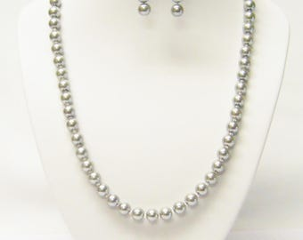 8mm Silver Glass Pearl Necklace & Earrings Set