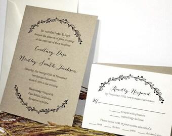 Rustic Swag Wedding Invitation - Rustic Invites, Nature Invites, Custom Rustic Invite, Kraft Card Stock, White Kraft Black, Kraft Wedding