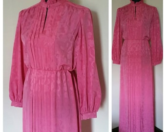 70s Retro Pink Bernadette Designs Inc Vintage Floral Floor Length Dress Gown Size 8