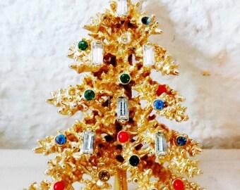 Christmas Brooch, Large Christmas Tree Brooch, Christmas Jewelry, Vintage Rhinestone Christmas Brooch/MARKED ~ART