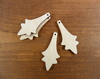 "Wood Earrings Flower Shape 2"" H x 15/16"" W x 1/8"" (50mm x 23mm x 3mm) Laser Cut Wood - 12 Pieces"