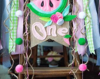 First Birthday Watermelon, First Birthday Fruit Banner, Watermelon High Chair Banner, Watermelon Birthday,  Fruit Birthday, Fruit Highchair